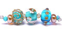 Sea Siren - handmade lampwork glass beads by artist Kandice Seeber