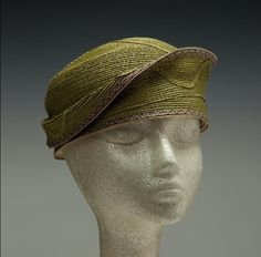 Diane Harty weaves her designs on an antique straw machine using braid in materials ranging from straw and paper to hemp and synthetics. Cocktail Hat, Green Hats, Cloche Hat, Hair Ornaments, Headgear, Headpieces, Headdress, Hats For Women, Fascinator