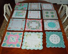 Good tips for different shapes and how to.......Vintage Hankie Quilt