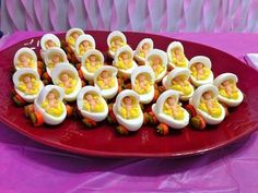 Baby Carriage Deviled Eggs...these are the BEST Baby Shower Ideas!