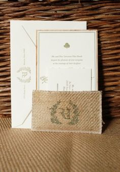 Oh So Beautiful Paper: Catherine + Nick's Rustic Burlap and Wood Wedding Invitations