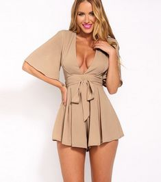 Plunge V Half Flare-Sleeved Romper Featuring Bow Accent Belt Sexy Outfits, Sexy Dresses, Summer Outfits, Cute Outfits, Fashion Outfits, Chiffon Skirt, Chiffon Tops, Short Jumpsuit, Cute Rompers