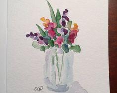 Coloridas flores acuarela tarjeta / tarjeta por gardenblooms