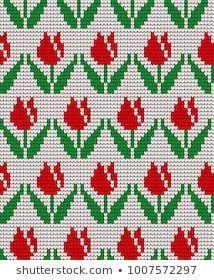 knitted winter flower pattern vector knitwear pattern - That's It Tiny Cross Stitch, Cross Stitch Cards, Cross Stitch Flowers, Cross Stitch Designs, Cross Stitching, Cross Stitch Embroidery, Cross Stitch Patterns, Knitting Charts, Knitting Patterns