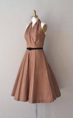 Xocolata halter dress cotton 1950s dress vintage by DearGolden