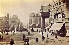 Theatre Royal and Upper Parliament Street, Nottingham, Nottingham City, Cinema Theatre, Black Hood, Vintage London, Historical Pictures, Old Photos, The Past, Street View, Victorian