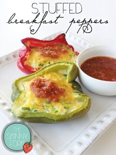 Stuffed Breakfast Peppers — Just over 100 calories in a serving of this perfect low carb breakfast option!