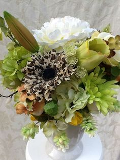 Silk Floral Arrangement with Cheetah by SilkFloralsbyCandice, $40.00
