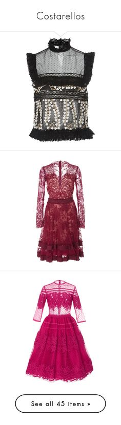 """""""Costarellos"""" by designing-myworld ❤ liked on Polyvore featuring tops, black, polka dot top, embroidered top, dot top, tulle top, flutter-sleeve top, dresses, red and red lace dresses"""