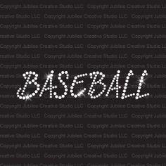 Baseball Slant Text Iron On Rhinestone Transfer bling from Jubilee Rhinestones.