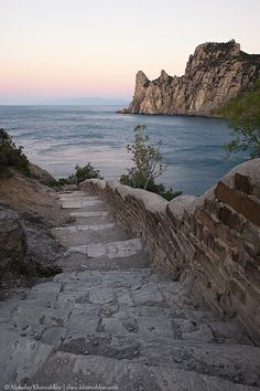 "Crimea, Ukraine ~ Rocky coastline of ""Novyi Svet"" recreation area at sunrise."