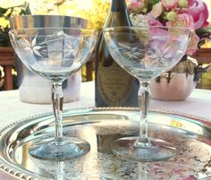 Vintage Champagne Coupe Glasses Saucers Pair  Etched with Flowers   Toasting Glasses Wedding Set of 2   Cocktail Glasses Stemware  by HouseofLucien