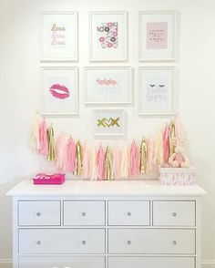A fun gallery wall we put up in my daughters room! Happy Saturday!