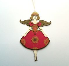 Angel Paper Doll, Christmas Angel, Angel Decoration, Jointed Angel Doll, Articulated Paper Doll, Christmas Decor, Holiday Decor, Red & Gold by JuliaPeculiar on Etsy