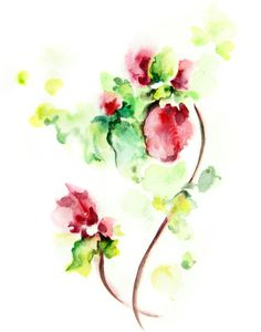 Abstract Flowers Watercolor Painting Art Print,  Abstract Floral Painting Pink Green, Watercolour Art