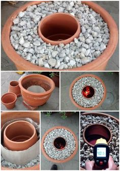 Terracotta Flower Pot Turned Into A Tandoori Oven! Small Fire Pit, Diy Fire Pit, Fire Pit Backyard, Backyard Seating, Backyard Landscaping, Backyard Projects, Garden Projects, Tabletop Fire Bowl, Fire Pit Table