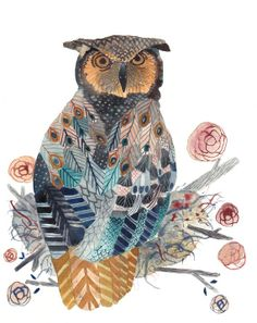 Great Horned Owl Archival Print by unitedthread on Etsy, $20.00
