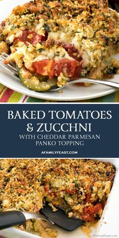 Side Dish Recipes 266064290471819452 - Our Baked Tomatoes and Zucchini with Cheddar Parmesan Parmesan Topping makes a delicious meatless meal or side dish that kids and grown-ups will both love. Source by smartlilcookie Zuchinni Recipes, Vegetable Recipes, Vegetarian Recipes, Cooking Recipes, Healthy Recipes, Baked Tomato Recipes, Vegetable Entrees, Fresh Tomato Recipes, Spinach Recipes
