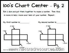 Use dice to enhance hundreds chart learning with this simple, free sheet from Raki's Rad Resources