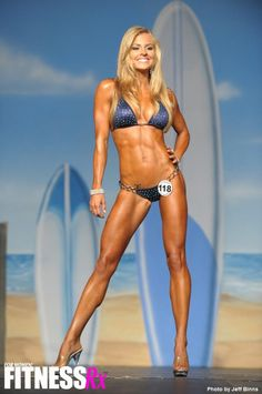 Brittany Tacy (IFBB bikini pro), custom bikini, she added her own crystals.