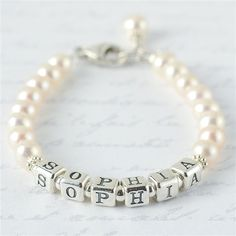Sweet Freshwater Pearl Name Bracelet - size baby to bride