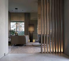 Rzhavo interior on Behance Living Room Modern, Home Living Room, Living Room Designs, Living Room Partition Design, Room Partition Designs, Room Deviders, Modern Home Interior Design, Apartment Interior, Luxurious Bedrooms