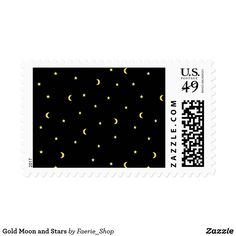 Gold Moon and Stars Postage #night #black #gold #luxurious #moon #strary #stars #faerieshop #magic #mysterious #hipster #witchy #cool #halloween #occult #space #abstract #simple #magical #gothic #minimalism #vector #seamless #repeat #sale #zazzle #letter #post