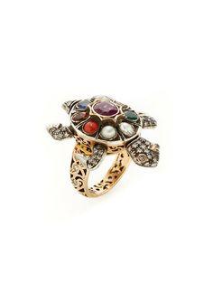 Navratan & Diamond Turtle Ring by Amrapali at Gilt