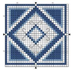 """""""Blue Biscornu"""" cross stitch pattern"""