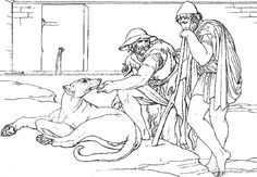 Eumaeus - swineherd, one of Odysseus's loyal servants and Odysseus old dog Argo, who died of happines after seeing his master after such a long time (Ithaca: The People at Home)