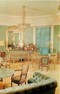 Vintage postcard of the Pittock Mansion Music Room.  This postcard is No longer available