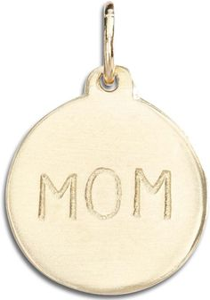 "Helen Ficalora ""Mom"" Disk Charm Yellow Gold. As Seen On: Oprah Winfrey, Julianne Moore, Gwyneth Paltrow, Tina Fey, Anne Hathway, Blake Lively, Jennifer Garner and many more. As Seen In: Ellen, Oprah, Martha Stewart, Glamour, Vogue, People Magazine, The Real Housewives, Steve Harvey, The Price is Right and many more. Made With Real Solid 14k Gold. Made in the United States. *Products May Appear Larger In Photos Than In Person."