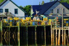 Maine Lobster Traps on Dock in Bernard, Maine