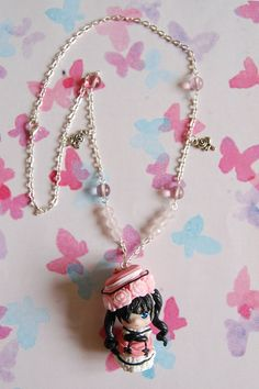 Handmade Black Butler necklace with polymer clay by Akindoonline