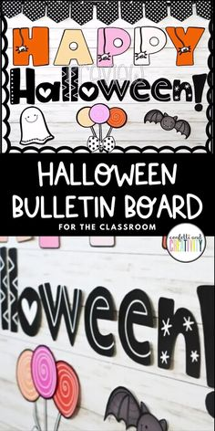 Introducing a not so scary, kid friendly Halloween bulletin board display! You and your students will love the fun fonts and friendly faces on this board. This kit comes in 2 different colors: the colors in the main picture and also in the traditional Halloween colors. This bulletin board kit is so easy to set up and can be used for many years to come! Halloween bulletin board ideas. Halloween classroom decorations. Fall classroom decorations. #classroombulletinboard #halloweenclassroomdecor Kindergarten Classroom Decor, High School Classroom, Classroom Walls, Classroom Bulletin Boards, Classroom Design, Halloween Classroom Decorations, Halloween Bulletin Boards, Halloween Letters, Scary Kids