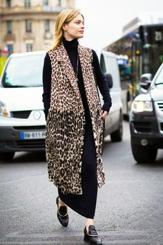 Here's How to Wear a Leopard Print Vest for Fall via @WhoWhatWear
