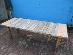 We built this table about 5 months ago. You can read about it here . We built it out of a picnic table that came with the house. And had b...