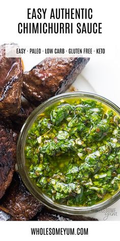 Low Carb Recipes To The Prism Weight Reduction Program The Best Authentic Chimichurri Sauce Recipe - Want To Know How To Make Chimichurri Sauce? It's Super Easy This Authentic Argentinian Chimichurri Sauce Recipe Is The Perfect Topping For Steak. Sauce Recipes, Paleo Recipes, Mexican Food Recipes, Low Carb Recipes, Real Food Recipes, Cooking Recipes, Ethnic Recipes, Sassy Sauce Recipe, Easy Recipes