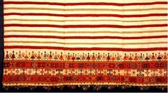 Greek embroidery Woven bedspread ornamented with a dense geometric design and the representation of a group dance along the border. From Crete, 19th c.