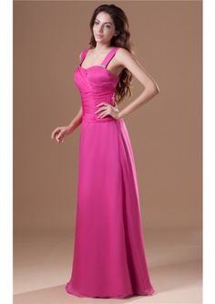 Straps Floor Length Zipper Chiffon Fuchsia A-line Sleeveless Ruched Bridesmaid Dresses