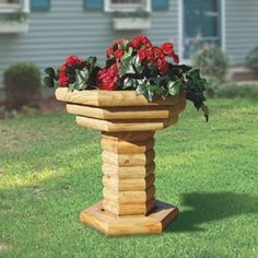 landscape timber birdbath planter -- I like this. :)