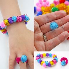 Glitter Pom Pom Jewelry Craft