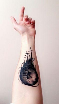 Moon tattoo watercolor