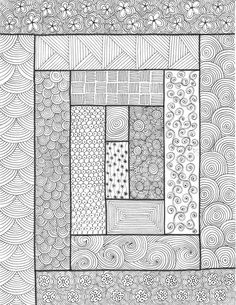 Rectangles - An original artwork by Cat Magness (very clever, take quilt patterns and zentangle inside) Zentangle Drawings, Doodles Zentangles, Zentangle Patterns, Doodle Drawings, Doodle Art, Zen Doodle Patterns, Zentangle Art Ideas, Art Patterns, Pattern Art