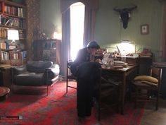 Love the red Turkish (Ushak) area rug inside the 221b flat of BBC's Sherlock. And the Bison skull with the headphones. And Benedict Cumberbatch.