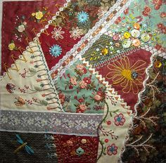 I ❤ crazy quilting & embroidery . . .  Agnès V. : crazyquilt ~By Et Brode Le Papillon, Anne Nicolas-Whitney
