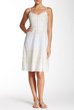 TORY BURCH White Ivory Embroidered Lace Cotton A-Line Dress NEW NWT Size 4 #ToryBurch #Sundress #Casual