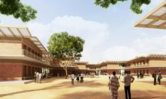 Francis Kéré Designs Education Campus for Mama Sarah Obama Foundation in Kenya,Secondary School. Image © Kéré Architecture
