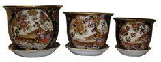 Porcelain pots  planters set of 3  hand painted gold filigree work musician design *** For more information, visit image link.