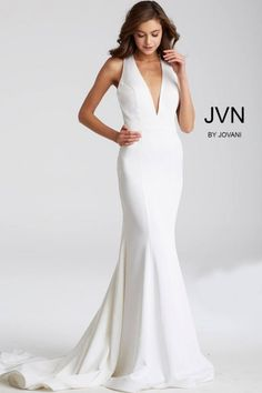 JVN Prom JVN50333 Deep V Sleeveless Gown